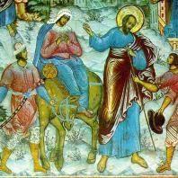 Фреска из цикла «Житие Елисея» в церкви Ильи Пророка в Ярославле. 1680 г.