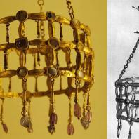 Вестготская вотивная корона. Из клада, найденного в Гварразаре близ Толедо. 7 век. Париж, Музей Клюни