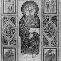 Евагелист и символы. Миниатюра Сент Галленского евангелия. 8 век. Сент Галлен, библиотека