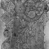 Лист с инициалом Христа из Келлсской книги. Фрагмент. Начало 8 век. Дублин, Тринити-колледж, библиотека