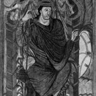 Король Лотарь. Миниатюра Евагелия Лотаря. Из Тура; около 840 г. Париж, Национальная библиотека
