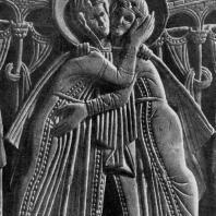 Книжный оклад из Геноэльс-Эльдерена Фрагмент. Встреча Марии с Елизаветой
