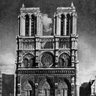 Собор Парижской Богоматери. Заложен в 1163 г., завершен в основном в 14 в. Западный фасад