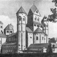 Церковь бенедиктинского аббатства Мария-Лаах. 1093 - около 1230 гг. Общий вид с северо-запада