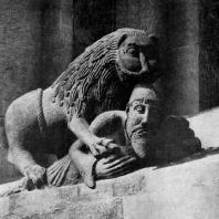 Лев, терзающий человека. Украшение окна собора в Вормсе. Восточный фасад. Конец 12 в.