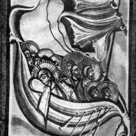 Буря на Генисаретском озере. Миниатюра Кодекса аббатисы Гитды фон Мешеде. Около 1030 г. Дармштадт, библиотека
