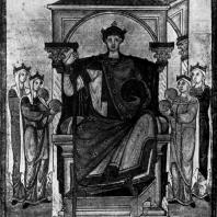 Император Оттон II с олицетворениями подвластных земель. Миниатюра Регистра св. Григория. Из Трира, около 985 г. Шантильи, Музей Кенде