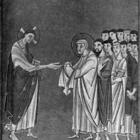 Св. Петр принимает ключи. Миниатюра Книги евангельских чтений Генриха II. 1007-1014 гг. Мюнхен, Государственная библиотека