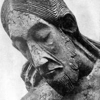 Распятие из церкви св. Георгия в Кельне. Фрагмент. Дерево. Около 1067 г. Кельн, Музей