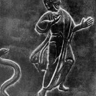 Моисей и змея. Фрагмент рельефа бронзовых дверей собора в Аугсбурге. Середина 11 века