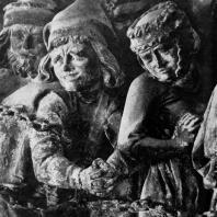 Грешники. Рельеф с преграды хора собора св. Мартина и св. Стефана в Майнце. Фрагмент. 13 век
