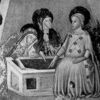 Феррер Басса. Жены-мироносицы у гроба господня. Фреска монастыря Педральбес близ Барселоны. 1-я половина 14 века