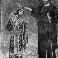 Христос коронует короля Рожера II. Мозаика церкви Санта Мария дель Аммиральо (Марторана) в Палермо. Около 1143 г.