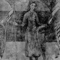 Воин. Фреска ротонды св. Екатерины в Зноймо. 1134 г.