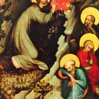 Мастер Тржебоньский. Моление о чаше. Фрагмент створки алтаря из церкви св. Эгидия в Тржебоне. Около 1380 г. Прага, Национальная галерея