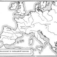 Карта: Палеолит в Западной Европе