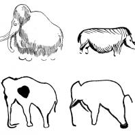 Мамонт. Пещера Фон де Гом; Носорог. Пещера фон де Гом; Слон. Пещера Пиндадь; Слон.Пещера Кастильо