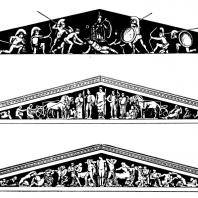 Западный фронтон храма Афины Афайи. Реконструкция | Восточный фронтон храма Зевса в Олимпии.Реконструкция | Западный фронтон храма Зевса в Олимпии.Реконструкция
