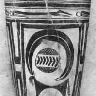 Расписной сосуд из могильника близ Суз (Элам) с изображениями козла, собак и фламинго. Энеолит. 3 тыс. до н. э. Париж. Лувр
