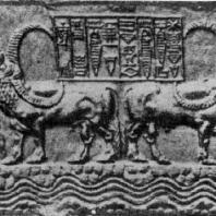 Водопой. Цилиндрическая печать из Аккада. Середина 23 в. до н. э. Собр. де Клерк (Франция)