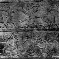 Битва на верблюдах. Рельеф из дворца Ашшурбанипала в Ниневии. Алебастр. Середина 7 в. до н. э. Лондон. Британский музей