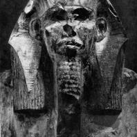 Статуя фараона Джосера из Саккара. Фрагмент. Известняк. III династия. Начало 3 тыс. до н. э. Каир. Музей