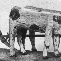 Пахарь с быками. Деревянная статуэтка. XI династия. 21 в. до н. э. Лондон. Британский музей