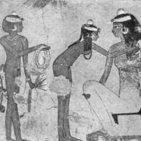 Пир. Фрагмент росписи гробницы Джесеркарасенеба в Фивах. XVIII династия. 15 в. до н. э.