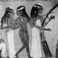 Музыкантши. Фрагмент росписи гробницы Нахт в Фивах. XVIII династия. 15 в. до н. э.
