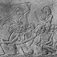 Пленные негры. Рельеф из гробницы Харемхеба в Мемфисе. Известняк. XIX династия. 14 в. до н. э. Болонья. Музей