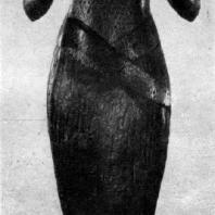 Царица Каромама. Бронзовая статуэтка с золотыми и медными вставками. XXII династия. Около 860 г. до н. э. Париж. Лувр