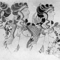 Женщины, смотрящие на представление (так называемые «Дамы в голубом»). Фреска Кносского дворца (реставрирована). Середина 2 тысячелетия до н. э. Гераклейон. Музей