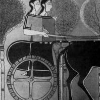 Выезд охотниц. Фреска из Тиринфа. Высота около 0,5 м. 14 в. до н. э. Афины. Национальный музей