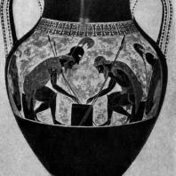 Эксекий. Аякс и Ахилл, играющие в кости. Роспись амфоры. Около 530 г. до н. э. Рим. Ватикан