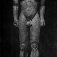 Полимед из Аргоса. Статуя Клеобиса (или Битона) из Дельф. Мрамор. Около 600 г. до н. э. Дельфы. Музей