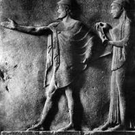Гермес и хариты. Фрагмент рельефа с острова Фасоса. Мрамор. 470—460 гг. до н. э. Париж. Лувр