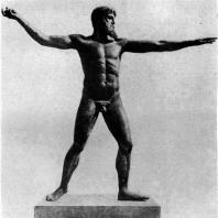 Зевс Громовержец. Найден в море у мыса Артемисион. Бронза. Около 460 г. до н. э. Афины. Национальный музей