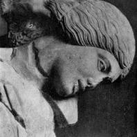 Женщина, схваченная кентавром за волосы, с западного фронтона храма Зевса в Олимпии. Голова