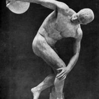 Мирон. Дискобол. Около 450 г. до н. э. Мраморная римская копия с утраченного бронзового оригинала. Рим. Музей Терм