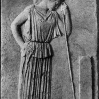 Афина, опирающаяся на копье. Мраморный рельеф с Афинского акрополя. Около 460 г. до н. э. Афины. Музей Акрополя