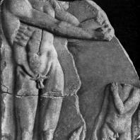 Апоксиомен и мальчик. Мраморный рельеф. Середина 5 в. до н. э. Дельфы. Музей