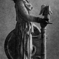 Афина Варвакион. Уменьшенная мраморная копия римского времени с Афины Парфенос Фидия, законченной после 438 г. до н. э. Афины. Национальный музей