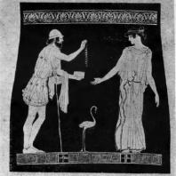 Полиник, предлагающий ожерелье Эрифиле. Роспись пелики (так называемой Вазы из Лечче). Вторая половина 5 в. до н. э. Лечче (Италия). Музей