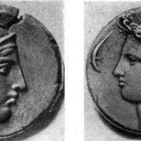 Греческие монеты: с изображением Афины. Вторая половина 5 в. до н. э. и нимфы Аретузы 4 в. до до н. э.