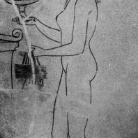 Девушка у гробницы. Роспись белого лекифа. Третья четверть 5 в. до н. э. Бостон. Музей изящных искусств