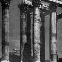 Храм Зевса Олимпийского в Афинах (Олимпейон). Заложен в 6 в. до н. э.; основное строительство — 174—163 гг. до н. э.; закончен во 2 в. н. э.