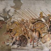 Битва Александра с Дарием. Мозаичная копия с картины конца 4 в. до н. э., найденная в доме Фавна в Помпеях. Неаполь. Национальный музей