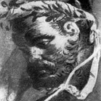 Голова Геркулеса. Фрагмент фрески «Нахождение Телефа» из так называемой базилики в Геркулануме. Около 70 г. н. э.