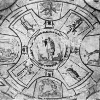 Добрый пастырь, оранты, история Ионы. Роспись потолка катакомбы св. Петра и Марцеллина в Риме. 3 в.