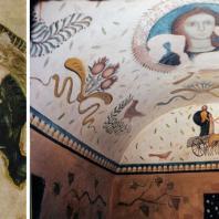 Голова Деметры. Роспись склепа Деметры в Пантикапее (Керчи). 1 в. н. э.